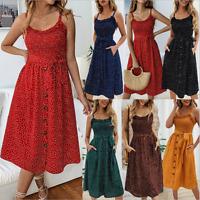 Womens Summer Boho Long Maxi Party Evening Beach Holiday Casual Dress Sundress