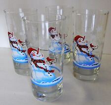 4 Libbey Snowman Old Fashioned Water Glass Christmas Winter Tumbler Multi Color