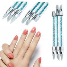 3 PCS Soft Silicone Nail Art Design Stamp Pen Brush UV Gel Carving Craft Pencil