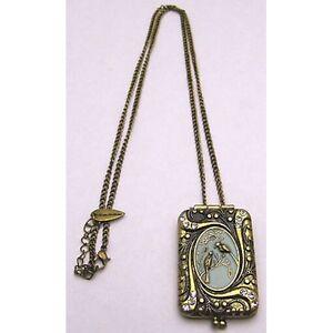 """Vintage PRINCESS CIVILIANS 28 + 2"""" 3mm Necklace w/ Rectangle Pendant Brass Tone"""
