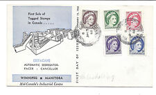 Canada FDC, First Sale of Tagged Stamps QE2 337p-341p - January 13 1962*