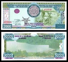 BURUNDI 2000 FRANCS (P41) 2001 UNC