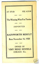 1920s Wire Fox Terrier Stud Brochure Chicago Kennels