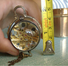 Collectible old brass glass ball Pocket watch,Work well,  30mm