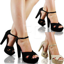 NEW WOMENS HIGH HEELS PLATFORM PEEP TOE ANKLE STRAP BUCKLE SANDALS SHOES SIZE