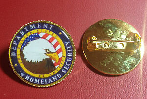 U.S. DEPARTMENT OF HOMELAND SECURITY`  Gold Plated PIN Badge  `OLD DESIGN`