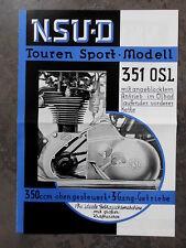 NSU 351 OSL Touren Sport obengesteuert  PROSPEKT OLDTIMER MOTORRAD NECKARSULM