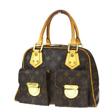 Auth LOUIS VUITTON Manhattan PM Hand Bag Monogram Leather Brown M40026 83MD956