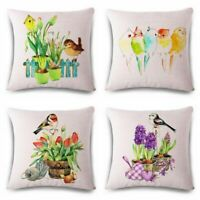 To birds Home Cotton Linen Case Decor Pillow Cushion Sofa Home Throw Cover