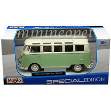 MAISTO 31956 VW VOLKSWAGEN VAN SAMBA BUS 1/25 DIECAST MODEL CAR GREEN CREAM