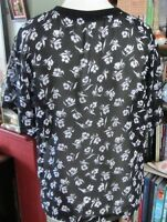 Marks & Spencer Ladies Black Top With White Flowers Size 12