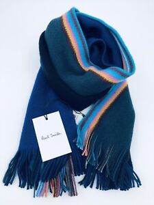 Paul Smith Men Scarf Made In Germany Wool Multi Edge Blue