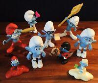 Lot of 9 Smurf Figures Peyo 2000'sPVC Plastic McDonald's GermanyPapa Smurf