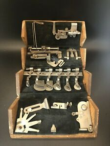 1889 Antique Singer Sewing Machine Folding Wooden Puzzle Box & Attachments