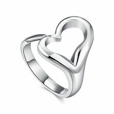 925 Silver Plt Adjustable Open Love Heart Statement Ring Hollow Thumb Gift A