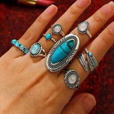8 Stück BOHO Türkis Opal Ringe Set natürlichen Silber Ring Modeschmuck