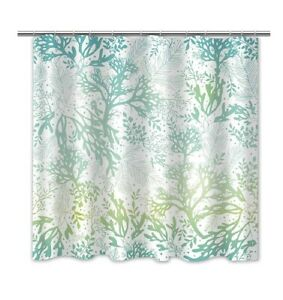 """Turquoise Abstract Fabric Shower Curtain - Sky Blue Art Print with hooks 69""""x70"""""""