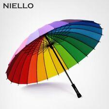 Rainbow Umbrella Rain Women Brand 24K Windproof Long Handle With Strong Frame