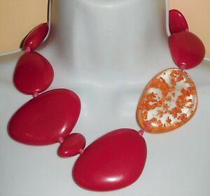 Sobral Dark Fuchsia Pink Encanto Metallique Copper Bead Necklace Brazil Import