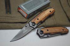 Couteau Compact Pliant de Poche GERBER Lame Acier 6,5 cm Manche Bois 8,5 cm
