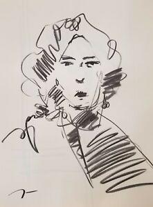"JOSE TRUJILLO Original Charcoal on Paper Sketch Drawing 18X24"" Portrait A005"