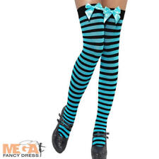 Black & Blue Stripe Stockings Fancy Dress Halloween Ladies Costume Accessory