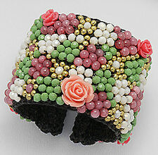 """Pink Glass & Jade Beaded Carved Coral Rose Leather Cuff  2"""" = 50mm Wide"""