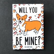 Corgi Dog and Hearts Magnet Handmade Valentines Day Gifts and Holiday Home Decor
