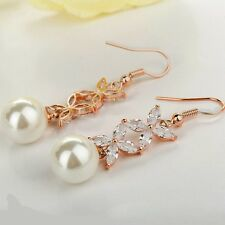 Wedding Party Rose Gold CZ Bridal Pearl Dangle Earrings Pink Gold Jewellery