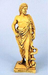 ASCLEPIUS w/ SNAKE STAFF ANCIENT GREEK GOD OF MEDICINE VINTAGE RESIN STATUE