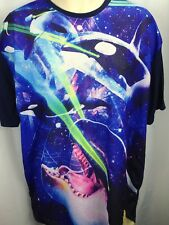 Chemistry Mens Mesh Front Jersey Shirt XL Killer Whales Orcas Laser Eyes T-Shirt