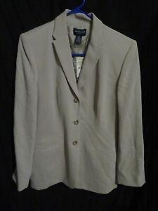 New Women's Ann Taylor Beige Blazer Lined Suit Jacket Size 14P 14 Petite $199