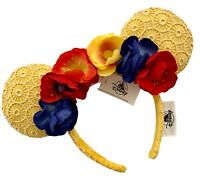Disney Parks Minnie Yellow Poppy Spring Laced Floral Bow Headband Ears - NEW