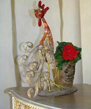 Jardiniere Pot Coq Deco Florale Plantes Retro Vintage Shabby Chic Metal Fer