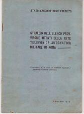 FASCICOLO MANUALE STATO MAGGIORE REGIO ESERCITO  STRALCIO ELENCO TELEFONICO 1945