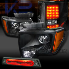 09-14 F150 Black Projector Headlights+Black LED Tail Lamps+Smoke LED 3rd Brake