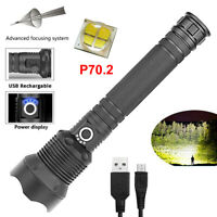 120000 lumens Lamp XHP70.2 most powerful led flashlight usb Zoom Tactical torch
