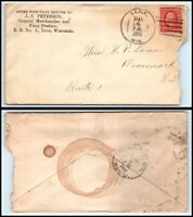 1910 US Ad Cover - J S Peterson General Mechandise, Lena, WI to Denmark, WI H15