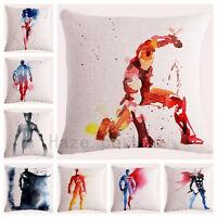 Decorative Throw Pillow Watercolor Marvel Superhero Comic Cushion Cover Gift