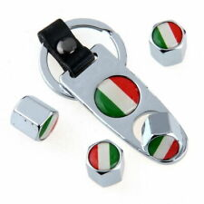 4pcs Italy Italian Flag Car Wheel Tire Valve Stem Air Cap Dust Cover w/ Keychain