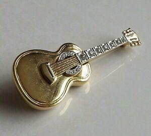 Vintage Heavy Gold Tone Guitar Brooch (L9-25)