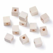 50pc Wood Beads Cube Large Hole Beads Square Wooden Spacers Large Hole Craft