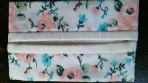 Peach Floral/Rose Fabric Travel Tissue Pouch/Holder