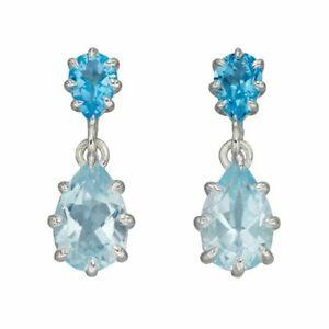 Silver Earrings Blue Topaz Multi Prong Drop Earrings Fine Jewellery E5972T
