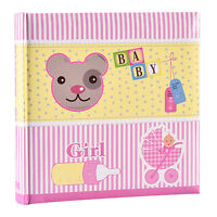 Pink Baby Girl Large Photo Album Holds 200 Photos 4' x 6' ideal for Gift -CE200