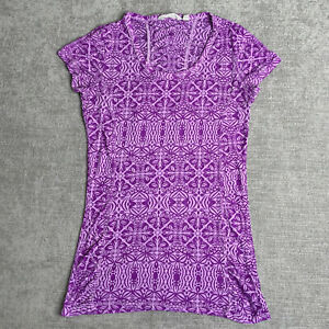 Athleta XS Top Womens T-shirt Purple Floral Print Burnout Short Sleeve Tee
