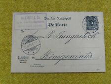 Ganzsachen  Reichspost Postkarte 1898 gelaufen Emmerich-Königswinter