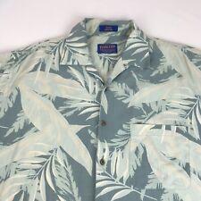 Pendleton Hawaiian Shirt Men's Large Green Silk Floral Short Sleeve Aloha