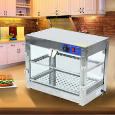 New listing 750W 2-Tier Food Pizza Warmer Display Cabinet Case Stainless Steel Countertop