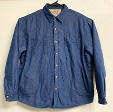 Vintage Wrangler, Sherpa Lined Blue Jean Denim Jacket Button Up Mens Size Large
